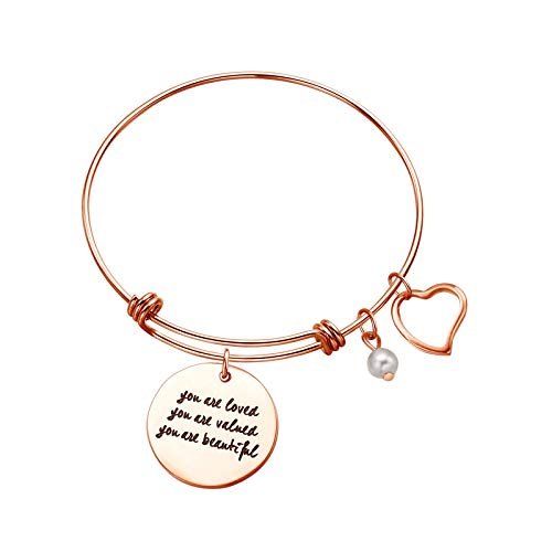 Sunflower Jewellery Charm Bracelet Adjustable Bangle Gift for Women Girl Sister Mother Friends You are Loved You are Valued You are -