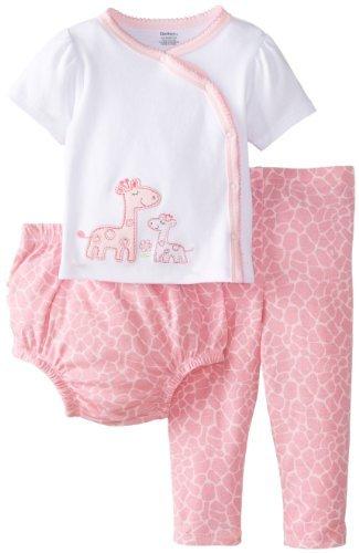 Gerber Baby-Girls recién nacido 3 Piece Set side-snap camiseta ...