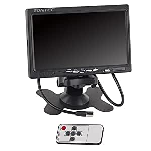 Tontec 7 Inch High Resolution 1024600 TFT LCD Screen Display Monitor for Raspberry Pi 2B B B+ with HDMI VGA Input, DVD VCR Car Rearview Headrest Monitor with Remote HDMI Cable