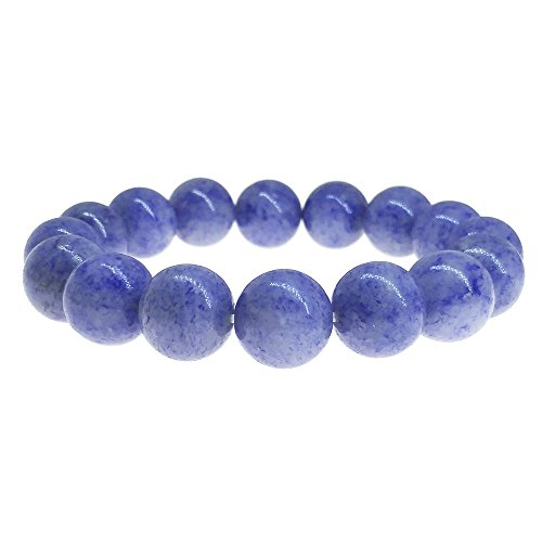 Alaxy(TM), Natural Blue Jade Agate Bracelet, 12mm Round Beads Natural Crystal Gemstone Hand String for Unisex Use