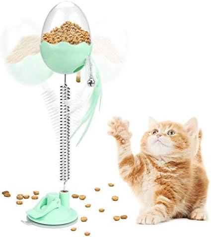 E-More 4 en 1 Juguetes interactivos para Gatos, Juguetes para dispensadores de Comida para Gatos Juguetes para Plumas de Gato alimentador para Mascotas con Varita de Resorte,: Amazon.es: Productos para mascotas