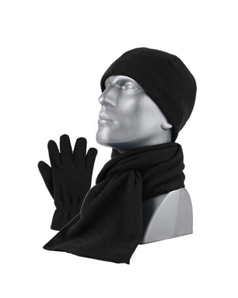 63a21d2a1e4 Black 3 Piece Anti-Pill Sport Fleece Beanie Hat