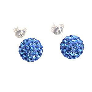 Authentic Sapphire Blue Color Crystal Ball Stud Earrings Sterling Silver 3 Carats Total Weight Special Limited Time Offer Super Sale from U.S.A