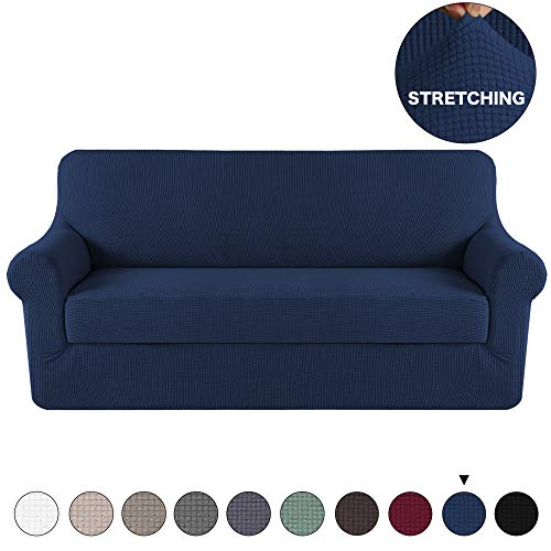 Turquoize 2 Pieces Sofa Slipcover Navy Couch Covers Lycra Furniture Protector Spandex Sofa Covers Form Fit Slip Resistant Stylish Furniture Protector Sofa 3 Seater, Navy Blue