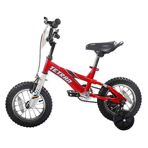HAPTOO Toddler Bike for Boys with Training Wheels for 3-5 Years Old, Toddler Kid Bicycle, Red