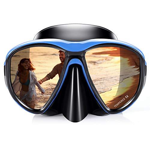(KUYOU Snorkel Mask Adult, Profession Scuba Mask Adult Diving Mask Plating Impact Resistant Tempered Glass Anti-Fog Anti-Leak )