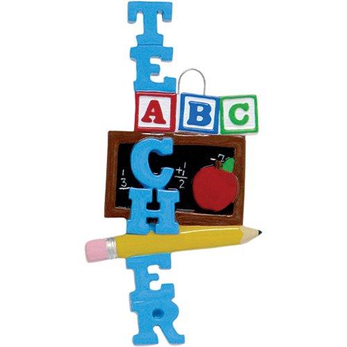 Personalized ABC Teacher Christmas Ornament - Blue Word with Blackboard Blocks Apple Pencil - #1 Best New Brunette Kindergarten First Grade Profession Primary School Lecturer - Free Customization