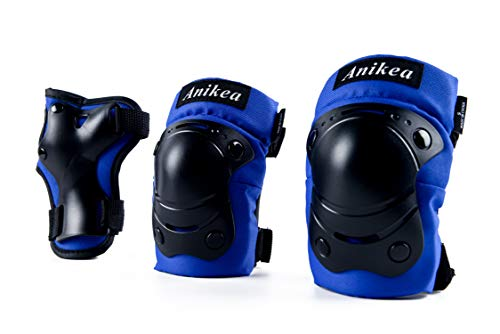Anikea Kids 3 in 1 Skateboard Protective Gear Set, Knee Pads Elbow Pads Wrist Guards for Rollerblading Skateboard Cycling Skating Biking Scooter