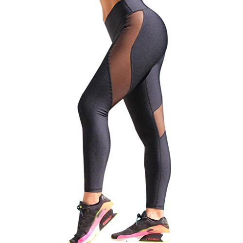 TAORE Leggings Mesh Leggings Womens High Waist Workout Leggings Fitness Sports Gym Running Yoga Athletic Pants (S, Black)