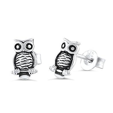 f552b1ecc Amazon.com: Sterling Silver Owl Stud Earrings - 8mm: Jewelry