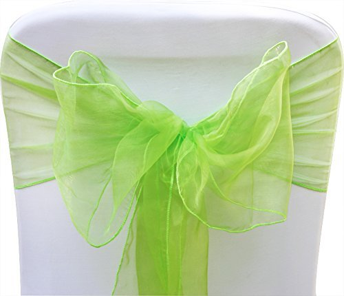 SF New Pack of 100 Chair Decorative Organza Sashes Bows Designed for Wedding Events Banquet Home Kitchen Decoration Bow sash (Lime Green)