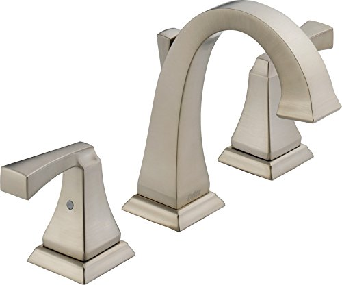 Delta 3551LF-SP Dryden 2-Handle Widespread Bathroom Faucet with Metal Drain Assembly, SpotShield Stainless (Handle 2 Widespread)