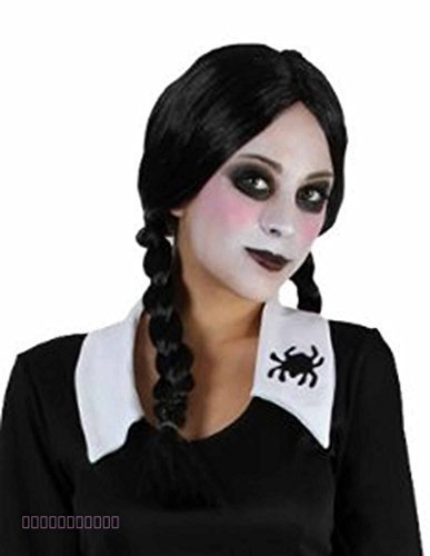 Halloween Black Plait Wig Wednesday Addams Witch Zombie Schoolgirl Fancy Dress by Card and Party Store]()