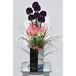 Silk Blooms Ltd Artificial Fresh Touch Baby Pink Anthurium and Purple Allium Arrangement w/Grass and Pink Moss 111