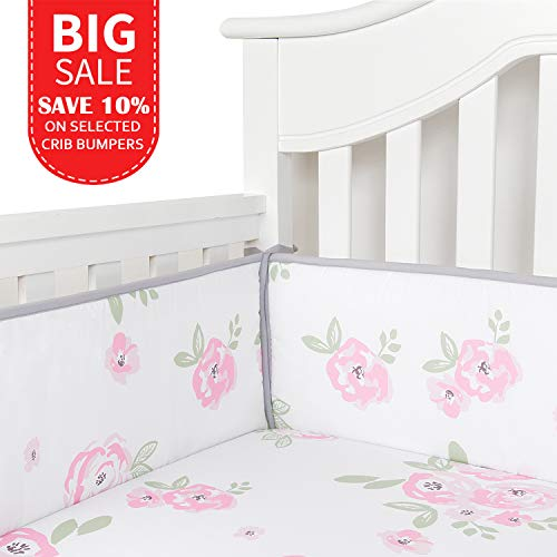 TILLYOU Baby Breathable Crib Bumper Pads for Standard Cribs Machine Washable Padded Crib Liner 100% Silky Soft Microfiber Polyester,4 Piece/Floral Rose Flower Pink