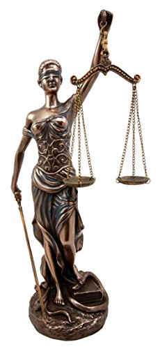 Ebros Gift Greek Blind Lady Goddess Of Justice Statue La Justica Dike With Judgement Sword And Scales Decorative Bronzed Resin Figurine 12