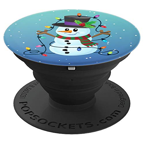 Cute And Funny Snowman Tangled In Lights In Snowy Blues - PopSockets Grip and Stand for Phones and Tablets ()