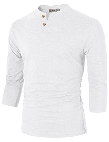 H2H Mens Casual Slim Fit Henley T-Shirt 3/4Sleeves White US L/Asia XL (CMTTS0194)