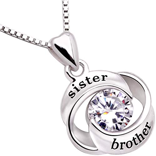 ALOV Jewelry Sterling Silver Sister and Brother Love Heart Cubic Zirconia Pendant Necklace