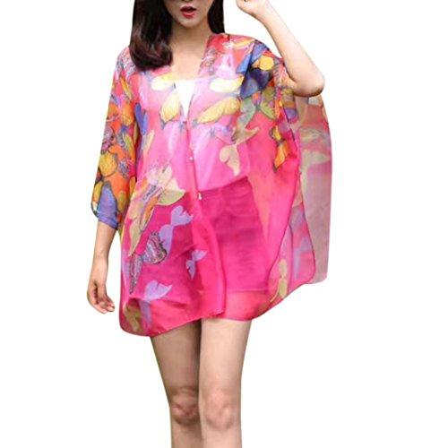 VENMO Las Mujeres de Verano Gasa Bufanda Bloqueador de Seda Impresa Bufanda Chal Mariposa Botón de Impresión de Ropa Poncho Fulares Rosa caliente