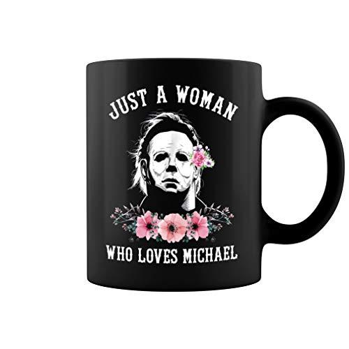 Just a Woman Who Loves Michael Ceramic Coffee Mug Tea Cup (11oz, Black)