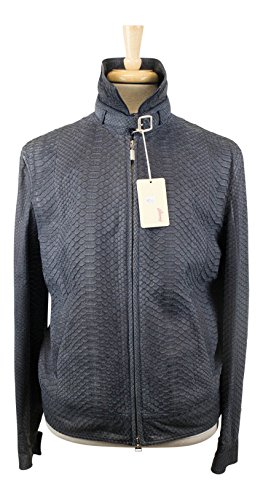 Brioni Steel Blue 100% Python Leather Bomber Jacket for sale  Delivered anywhere in USA