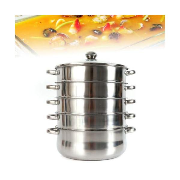 Generic - Pentola a vapore in acciaio INOX, 26 cm, coperchio in vetro, 5 strati con coperchio in vetro 1 spesavip