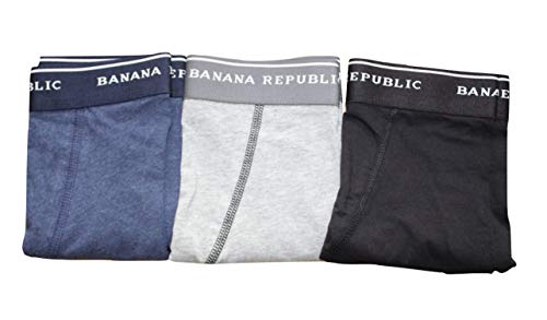 Banana Republic 3-Pairs Men's Knit Boxer Briefs (X-Large) Functional Fly Brief (Heather Blue, Heather Gray, Black) from Banana Republic Factory Store