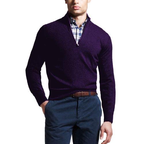 Parisbonbon Men's 100% Cashmere V-Neck Sweater Color Deep...