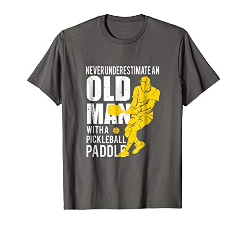 Mens Never Underestimate Old Man with Pickleball Paddle T-shirt Large Asphalt