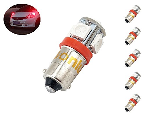 Bonlux BA9 BA9s Single Contact Miniature Bayonet LED Bulb 12V Red LED Car Light Bulbs T4W 1445 1895 6253 64111 64113 LED Bulb (pack of 5, Red) ()