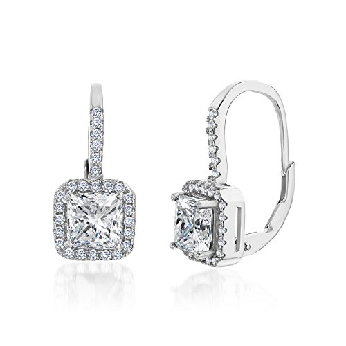 SUPER SALE 18K White Gold Over Sterling Silver Square Halo Cubic Zirconia Sapphire Lever Back Earring (Cubic (How To Make A Halo Costume)