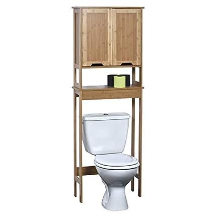 Amazoncom Wood Toilet Storage With 2 Bamboo Painted Finish Doors