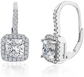 18K White Gold Over Sterling Silver Square Halo Cubic Zirconia Sapphire Lever Back Earring