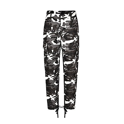 Womens Camouflage Pants Hip Hop Rock Trousers Camo Casual Cargo Joggers Trousers iTLOTL(Yellow,M) by iTLOTL