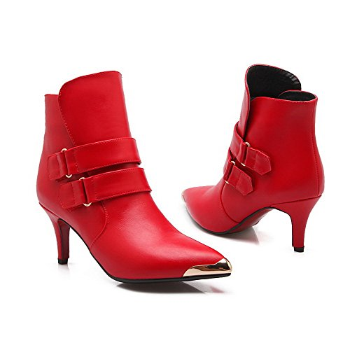 PU Women's Hook Boots Allhqfashion Red Metalornament with Heels and and Loop High 7a554qwF