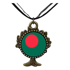 Chicforest Bronze Retro Style Bangladesh flag The Tree Of Life And Wishing Pendant