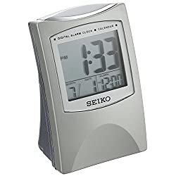 Seiko Bedside Alarm Get Up and Glow Clock Silver-Tone Metallic Case