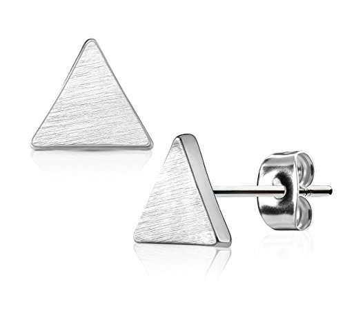 - Triangle-Shaped Silver Tone Surgical Steel Brushed Finish Stud Earrings