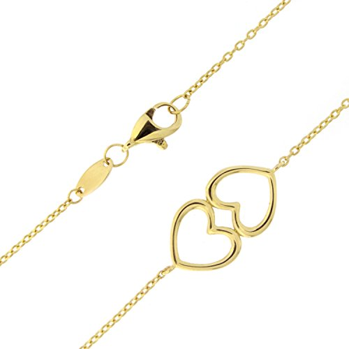 14k Yellow Gold Double Heart Adjustable Anklet - 9'' - 10'' by Beauniq