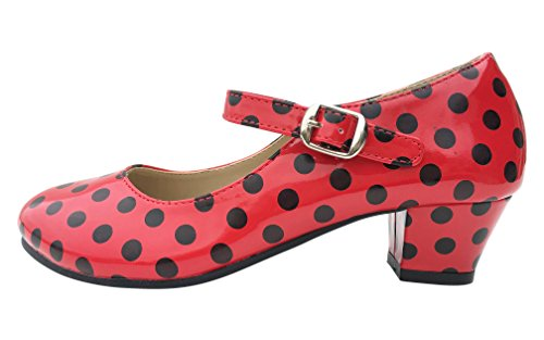 La Senorita Flamenco Shoes Spanish Princess shoes Red Black (13.5 M US Little Kid, red black)