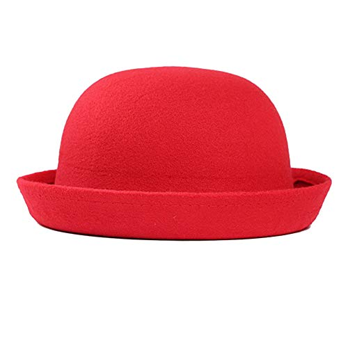 - StyleZ Fashion Style Lady Vogue Vintage Women's Wool Cute Trendy Bowler Derby Hat (Red)
