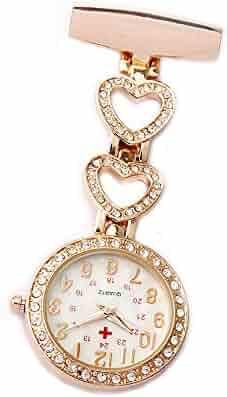 GORBEN Ladies Heart Steel Crystal Nurse Doctor Paramedic Tunic Brooch Quartz FOB Pocket Watch
