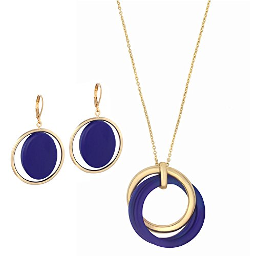 Accent Necklace for Women Fashion Costume Long Royal Blue with Earrings by Agil Baozen