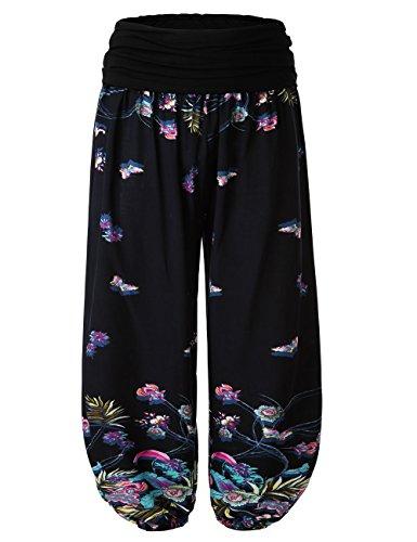 (BAISHENGGT Women's Floral Print Elastic Waist Harem Pants Large Blue-Floral #2)