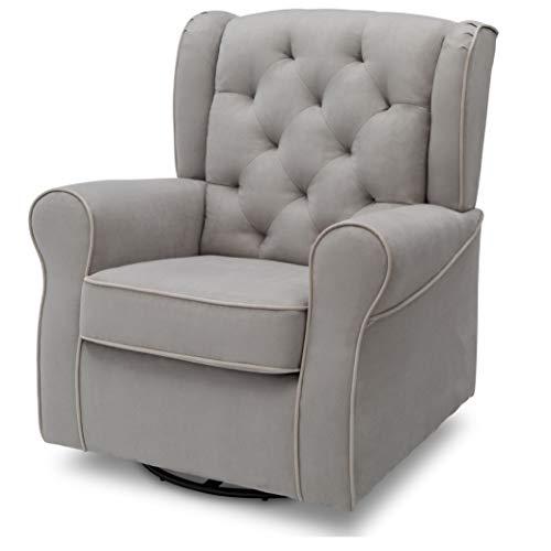41lK059984L - Delta Children Emerson Upholstered Glider Swivel Rocker Chair, Dove Grey With Soft Grey Welt