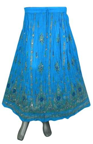 Imprimer Et Printemps Designer Vtements Inde Turquoise Rayon Jupe pxgdZS