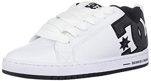 #DC Court Graffik SE White Grey Mens Leather Skate Trainers
