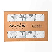 Muslin Baby Swaddle Blankets  Starry Nights  4 Pack- CuddleBug 47 x 47 inch Large Muslin Swaddles - Soft Cotton Blankets - Baby Shower Gift - Perfect for Nursery Sets - Unisex