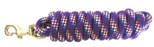 Weave Lead - Hamilton Extra Heavy Poly Rope Lead with Bull Snap, Purple Confetti Weave, 5/8